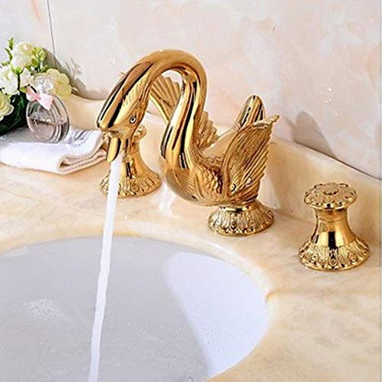 JI Weit Verbreitet Messing Ventil Zwei Griffe DREI Lcher Gold, Waschbecken Wasserhahn,A,Einheitsgre