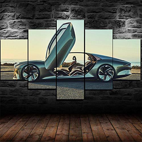 45Tdfc 5 Unidades Pictures Coche de Lujo Verde Bentley EXP 100 GT Painting Home Decor Modern Wall Art Canvas HD Prints Frame Modular Poster