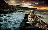 Glorious.Q Fototapete Wandbild,Fliegende Untertasse 3D UFO, Schönheitsseenebel Tapete Moderne Wanddeko Ausblick, Wand Dekoration, Wandbelag, Wandbild, Wanddeko 320x200cm
