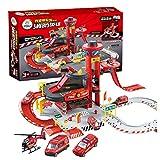 AAAHHH Juego De Garaje Infantil Parking para Niños De +3 Años con Accesorios Incluidos 3 Coches 1 Helicóptero Elevador Funcional 72X72x35 Cm Rojo