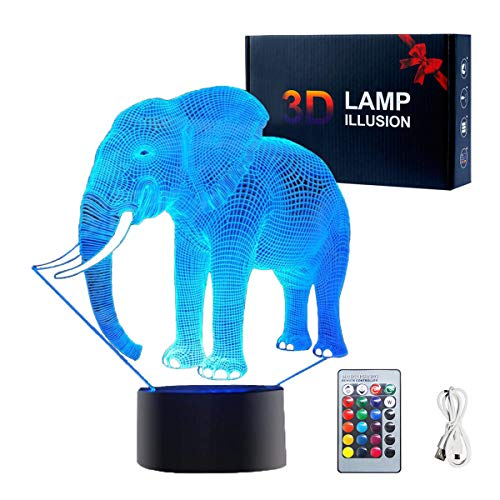 3D Illusion Lamp, Elephant Toys Decor LED Night Light Lamp 16 Colors Changing with Smart Touch & Remote Control USB Powered Party Decoration Lamp for Home Décor Xmas Birthday Gifts