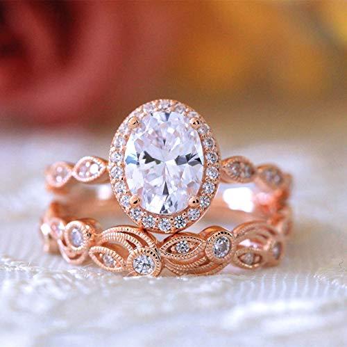 LXBIN Cubic Zirconia Bridal Set Princess Cut CZ Jewelry Engagement Wedding Rings Set