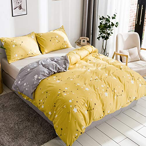 Juwute Kids Duvet Cover Set Twin Yellow and Grey Constellation Moon Star Pattern Bedding Soft...