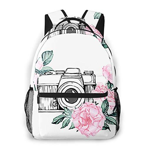 Laptop Rucksack Schulrucksack Fotokamera Blume Blatt, 14 Zoll Reise Daypack Wasserdicht für Arbeit Business Schule Männer Frauen