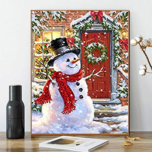 Kimily DIY Paint by Numbers for Adults Kids Christmas Paint by Numbers DIY Painting Acrylic Paint by Numbers Painting Kit Home Wall Living Room Bedroom Decoration Christmas Snowman