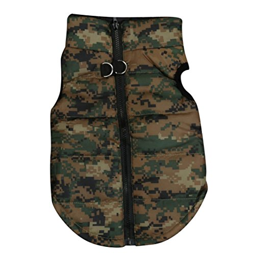 Howstar Pet Camouflage Cold Weather Coat, Small Dog Vest Harness Puppy Winter Padded Outfit Warm...