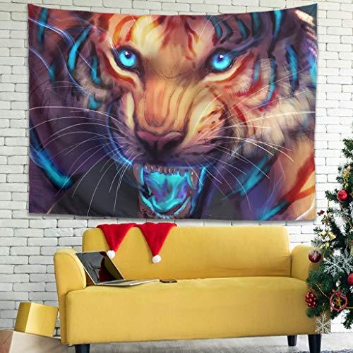 WellWellWell Tapiz de pared con diseño de tigre, color blanco, 150 x 130 cm