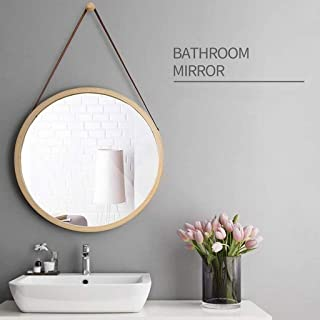 Wall Mirror Round Bamboo Frame Adjustable Hanging Wall-Mounted Bathroom Makeup Vanity Mirrors 5CD1 (Color : Wood Color, Size : 45cm)
