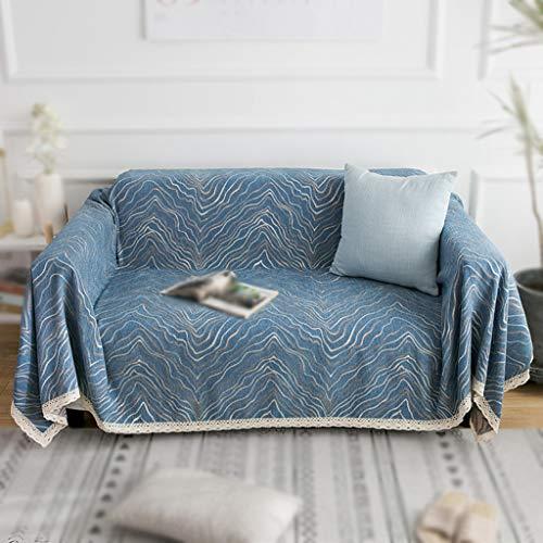 JRAVELR Fundas De Sofá Fundas De Sofá De Chenilla para Sofá Chaise Lounge Funda De Sofá Fundas Protector De Muebles para Perros Mascotas Blue 180x360cm