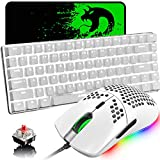 Gaming Keyboard and Mouse,3 in 1 White LED Backlit Wired Mechanical Keyboard Red Switch,RGB 6400 DPI Lightweight Gaming Mouse with Honeycomb Shell,Gaming Mouse Pad for PC Gamers(White)