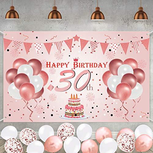 30. Geburtstag Roségold Party Dekoration Alles Gute zum Geburtstag Poster Jubiläum Hintergrund Hintergrund Banner liefert 180 * 110cm mit 16 Stück Luftballons
