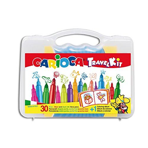 CARIOCA Travel Kit | 43260 - Maletín de Plástico con Colores, Álbum Inclído, 30 Unidades