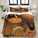 Yaoni Funda nórdica, Calabaza de Halloween Scarecrow Spooky Cat, Juego de Cama Juegos de Microfibra Ultra cómodos y Ligeros