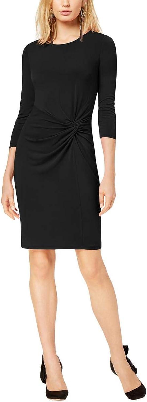 Inc Womens Twist Front Sheath Cocktail Dress Black M