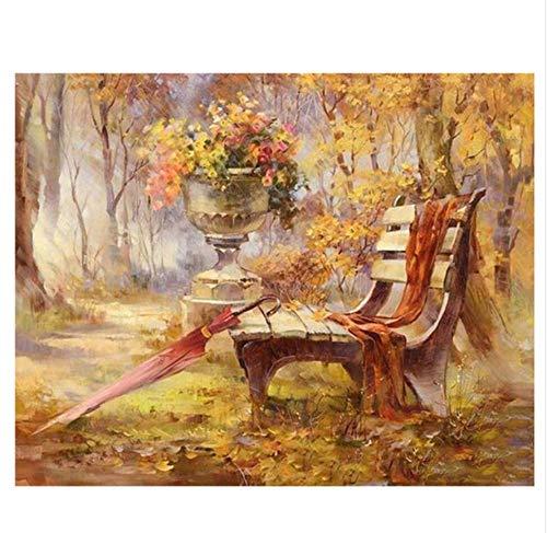 WYTCY avec Framedpark Peinture De Bricolage par Chiffres Résumé Chaise Umbrella Peinture À l'huile sur Toile Automne Arbre Acrylique Décor À La Maison 40x50cm