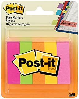 Post-it Page Markers, 1/2 in x 1 3/4 in, Assorted Fluorescent Colors, 100 Sheets/Pad, 5 Pads/Pack (670-5AF2)