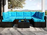 Allewie Outdoor Patio Furniture Set 7 Pieces Balcony Furniture Black PE Rattan Wicker Patio Conversation Sets with Seat Cushions and Tempered Glass Table, Turquoise Blue