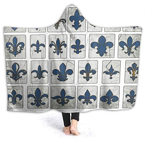 CVSANALA Portable Couverture à Capuche Peluche Emballage,New Orleans Street Tiles Fleur De Lis,Doux Chaud Toison Couverture de Jet Manteau Confortable pour Canapé-lit Home Travel,80\