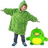 La felpa con cappuccio ripiegabile 2 in 1 animale di peluche si trasforma in una grande felpa con cappuccio con cuscini pigiama pullover a maniche lunghe adatta per ragazzi e ragazze