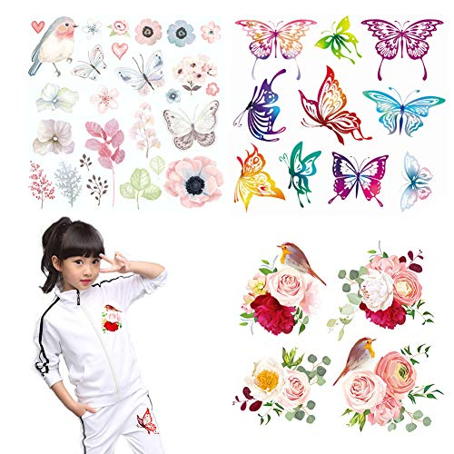 Iron on Patches for Kids 3 Sheets Various Butterfly Birds Rose Appliques with Girls Boys Baby Heat Transfer Stickers Decal Design for T-Shirt, Clothing, Jeans, Backpacks, Dress DIY Decorations Access