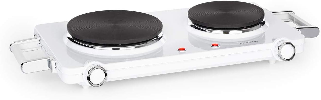 Klarstein Cookorama placa de cocina eléctrica doble - 2250 W, fogones de cocina de 150/180 mm Ø, luces de control, asas, 5 niveles de calor, placas de ...