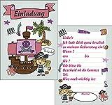 Juego de 6 tarjetas de invitación de cumpleaños para niños, piratas, unicornios, unicornios, para niños y niñas (piratas)