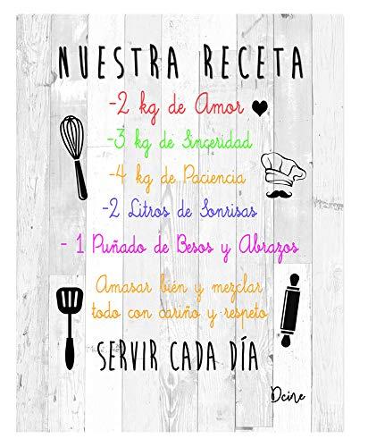 DCine Cuadro Decorativo/Frases positivas/sobre Madera/Regalo/Normas del hogar 19 cm x 25 cm x 4 mm/Madera (Nuestra Receta)