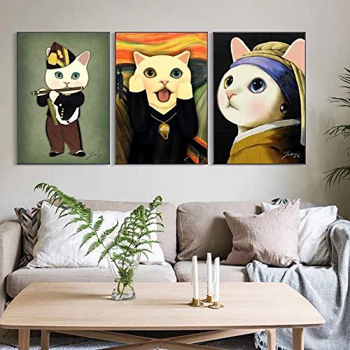 woplmh Creativo nórdico-Pintura Famosa Retro Gato con Pendientes Cartel Fondo literario decoración de Pared Lienzo Impreso / 50x70cmx3 Piezas-sin Marco
