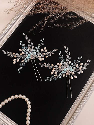 Conjunto de Accesorios para el Cabello de Boda, Broche y Pendientes para el Cabello de Novia de Cristal de Diamantes de imitación Azul, Adornos para el Cabello para Mujeres, Accesorios para el Cabel