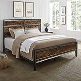 Walker Edison Industrial Plank Metal King Size Headboard Footboard Bed Frame Bedroom, Brown Reclaimed Wood