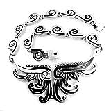 Collar Artesanal de Plata 925 Azteca con glifos prehispánicos, Hecho en el Pueblo de Taxco, México. Largo 14cm. Peso:152g.
