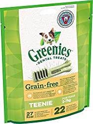 For man's best friend: Grain-free dental chews for teenie dog breeds / Unique chewy texture that helps reduce plaque and tartar build up / Easily digestible treat for fresh breath and oral hygiene GREENIES Dental Treats are developed with veterinaria...