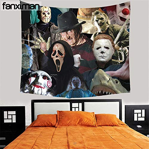 Tapiz estético personalizado para el hogar Tapiz decorativo para colgar en la pared Película de terror Viernes Jason Freddy Tapices Mantas Mantel *