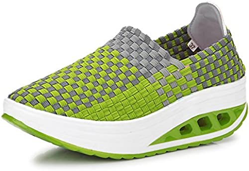 AVBGT Sports Décontracté chaussures Sports Sports Décontracté Wohommes chaussures Hand Knitted Rocking chaussures Breathable Net chaussures Thick Sole,1588 vert,Thirty-Six  Réponses rapides