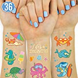 xo, Fetti Beach Summer Sea Creature Temporary Tattoos for Kids - Glitter styles | Birthday Party Supplies, Pool Party Favors + Tropical Decor