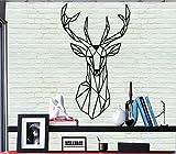 Décoration murale en métal - géométrique Tête de cerf - 3d mural Silhouette Décoration murale en métal Home Office Décoration chambre à coucher salle de séjour Décor 36x61cm