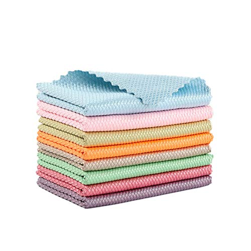 GHJYUK 10PCS Fish Scale Microfiber Polishing Cleaning Cloth,Rag-Super Absorbent Without Leaving Marks for Household Cleaning Rags, Non-Shedding Absorbent Towel to Remove Oil 30 * 30CM