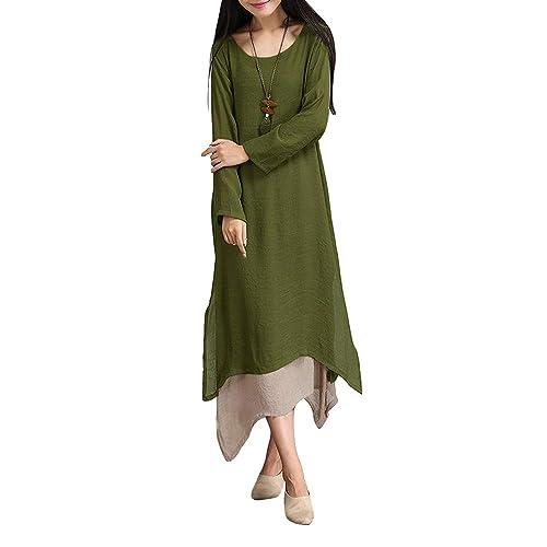 38ae29012956 Romacci Women Vintage Dress Contrast Double Layer Casual Loose Boho Long Plus  Size Retro Maxi Dress