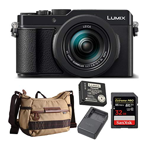 Panasonic Lumix DMC-LX100 II Large Four Thirds 21.7 MP Multi Aspect Sensor 24-75mm Camera Bundle with Panasonic DMW-ZSTRV Battery & Charger Pack, Camera Bag and 32GB SD Card