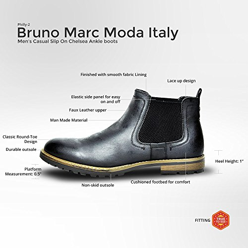 BRUNO MARC MODA ITALY PHILLY-2 Men's Classic Faux Leather Round Toe Casual Elastic Slip On Dress boots BLACK SIZE 10.5