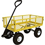Sunnydaze Utility Steel Garden Cart, Outdoor Lawn Wagon with Removable Sides, Heavy-Duty 400 Pound Capacity, Yellow
