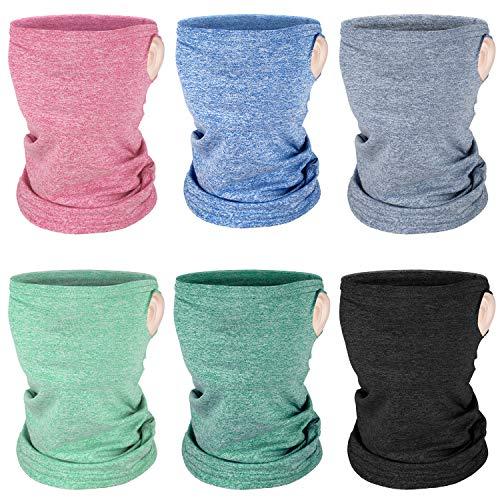 Boao 6 Pieces Kids Summer Neck Gaiter Ice Silk Face Cover Bandanas Non-Slip Balaclava Neck Cover (Solid Color)