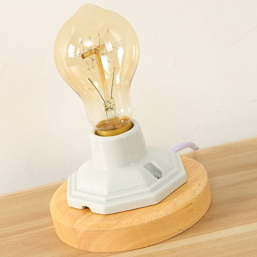 IJ INJUICY Vintage Industrial Table Lamp with Wooden Ceramics Base for Antique Desk Lamp