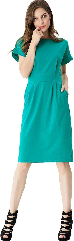 Aphratti Women's Elegant Short Sleeve Party Bodycon Sheath Dress with Pockets