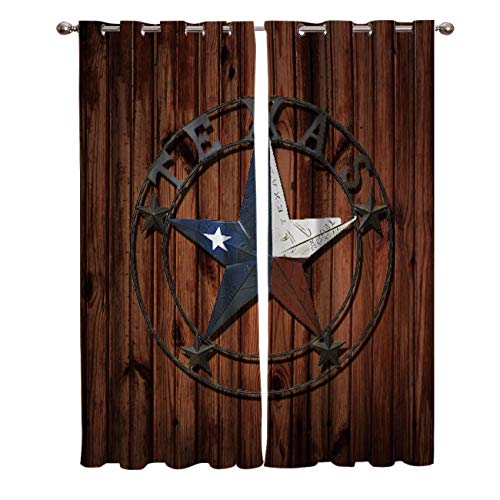 Edwiinsa Rustic Old Barn Western Texas Star Kitchen Curtains Window Drapes Treatment Grommet 2 Panel Curtains for Kitchen/Cafe, Sliding Glass Door Curtains Set 80W x 84L inch