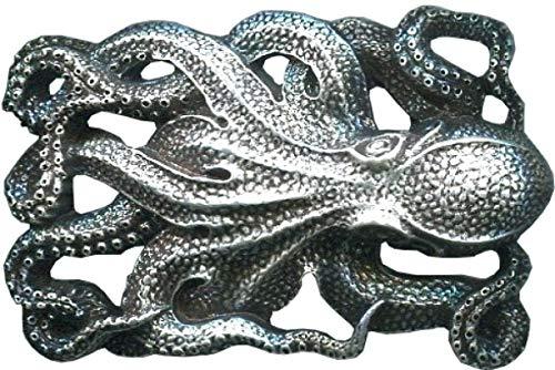 Gürtelschnalle Oktopus 2,0cm | Buckle Wechselschließe Gürtelschließe 20mm Massiv | Für Wechselgürtel bis zu 2cm Breite | Silber