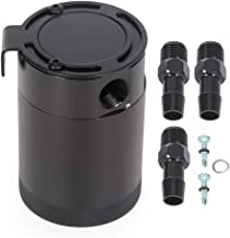 SCITOO Black Polish Baffled Universal Aluminum 250ML Car Truck Oil Catch Can Reservoir Tank Kit with Breather Filter