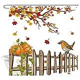KOTOM Duschvorhang Herbstblätter Herbst-Ahornblatt Vogel Bauernhof Holzzaun Kürbis Thanksgiving Duschvorhänge Landhaus Badezimmer Stoff Vorhänge 177,9 x 177,8 cm