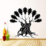 Vinilo Adhesivo de pared Árbol grande con ramas y hojas - Decoración de arte natural Calcomanía removible Apartamento para el hogar u oficina Deco 60X57cm