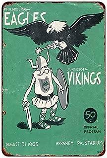 Jesiceny New Tin Sign Philadelphia Eagles vs Minnesota Vikings 1963 Aluminum Metal Sign 8x12 Inches